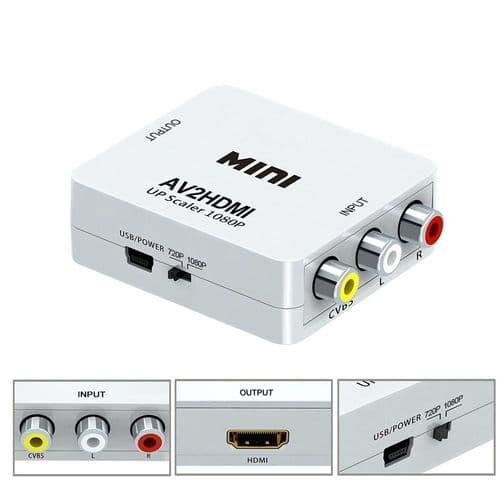Convertisseur Av En Hdmi / Rca Composite Cvbs En Hdmi 720 / 1080P Up Scaler