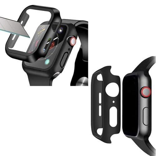 Coque De Protection + Film Verre Pour Apple Watch Modèle 40Mm Série 4 5_Noir