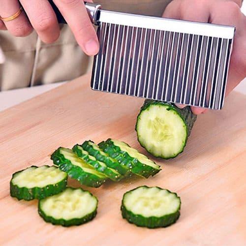 Couteau légumes Fruits acier inoxydable ustensiles lame dentelée forme vague
