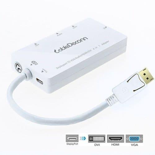 Displayport Entrée à HDMI DVI VGA Adaptateur Convertisseur Câble Vidéo Audio WH