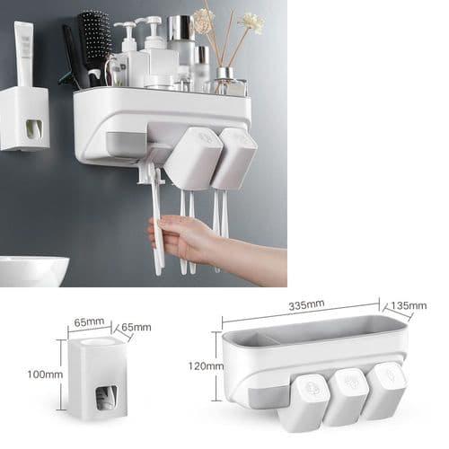 Distributeur Automatique De Dentifrice Support Porte De Brosse À Dents + Tasses