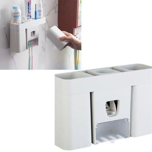 Distributeur Automatique Dentifrice Support Brosse À Dents + Tasses Magnétiques