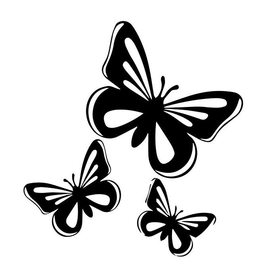 Film Autocollant Voiture Déco Auto Sticker Uv Résist Papillons 2 Set De 3_M