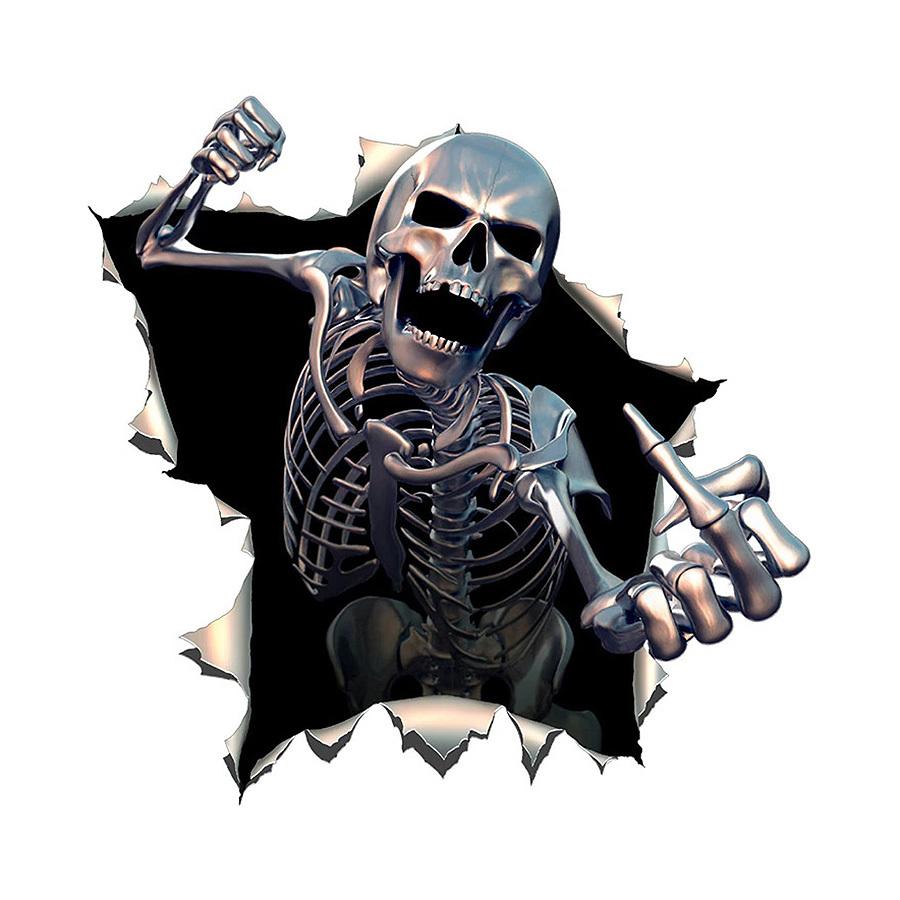 Film Autocollant Voiture Déco Auto Sticker Uv Résist Squelette Colère 15X15Cm 2X