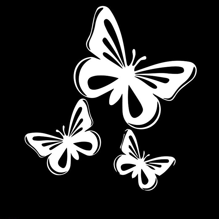 Film Autocollant Voiture Déco Auto Sticker Uv Résistant Papillons 2 Set De 3_L