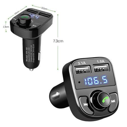 FM Transmetteur Bluetooth Mains Libres Lecteur Mp3 Charge Rapide Double USB