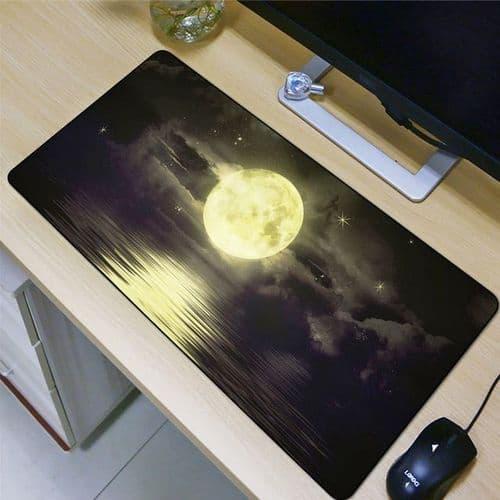 Grand Tapis De Souris Ordinateur Bureau Caoutchouc Naturel 400X800X2Mm Lune Mer