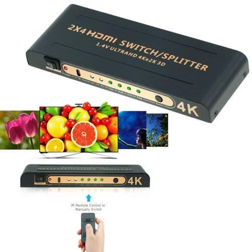Hdmi 1.4 Répartiteur 2X4 Télécommande 2 In 4 Out Commutateur Hdmi Uhd 4K