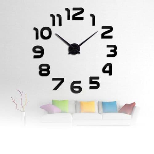 Horloge Murale Quartz 3D DIY Acrylique Miroir Autocollant Décoration Intérieure Salon