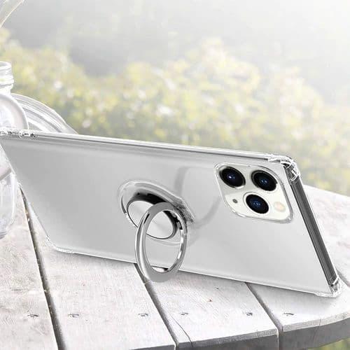 Ip342_Coque De Protection Pour Iphone 11 Silicone Transparent_Bague Support