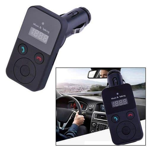 Kit Bluetooth Auto Lecteur microSD MP3 Transmetteur FM Audio Prise USB