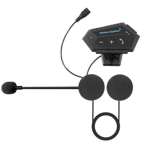 Kit Mains Libres Sans Fil  Bluetooth Bt Stéréo Casque Micro De Moto Interphone