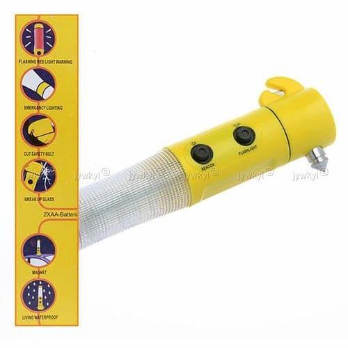 Lampe d'Urgence Multifonction Torche Bris Vitre Cutter Ceinture de Sécurité Voiture