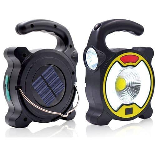 Lampe LED Solaire Lanterne Cob De Camping USB Chargeur Portable Lampe De Poche