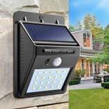 Lampe Solaire Lumière Extérieure Mur 20 LED Étanche Détecteur De Mouvement