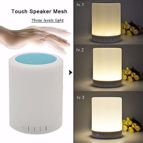 Lampe Tactile LED Lumière Réglable Enceinte Bluetooth Lecteur Carte Mémoire