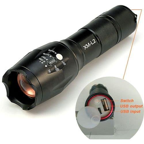 Lampe Torche 8000 Lumens LED Torche Zoomable Lampe USB Chargeur De Batterie
