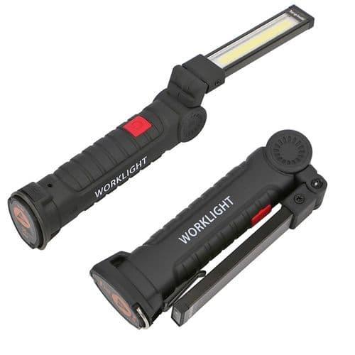 Lampe Torche LED Lumière Cob Rechargeable USB Magnétique Et Avec Crochet