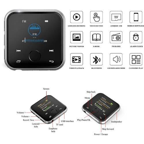 Lecteur Audio Bluetooth 4.2 Mp3 Mp4 Enceintes Intégré Radio Fm Voice Record_16Go