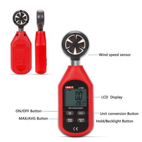 Mini Anémomètre Digital Mesure Vitesse Du Vent Thermomètre Température