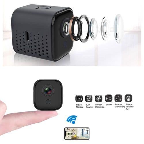 Mini Caméra 1080P Wi-Fi Surveillance Sécurité Détection Mouvement 16Go