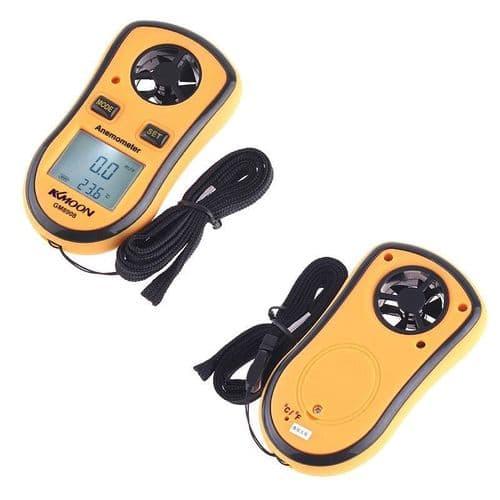 Mini Mesureur de Vitesse Numérique Anémomètre Thermomètre Mesure de Température