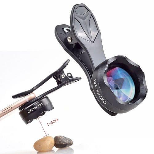 Objectif Photographie Lentille Macro 18X À Pince Pour Téléphone Mobile