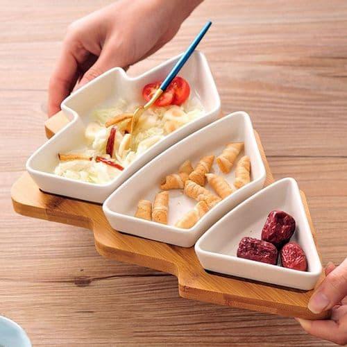 Plat service entrée apéritif en céramique Porcelaine Assiette Arbre Noël