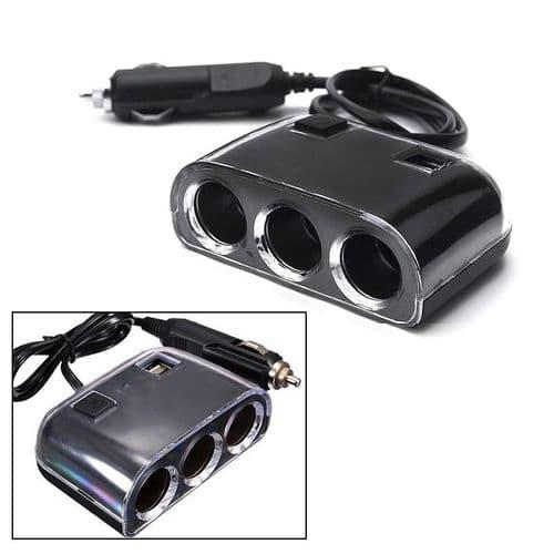 Prise Allume Cigare 3 Port DC 12V 2 Port USB Chargeur Adaptateur Multiprise BK