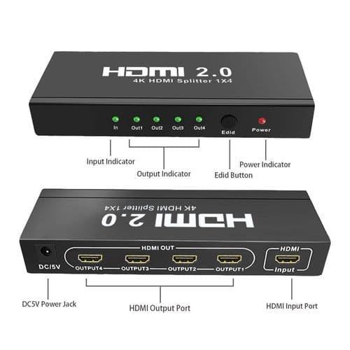 Répartiteur 4K Hdmi 2.0 1 Entrée Sur 4 Sorties 4K / 60Hz Hdcp2.2  Edid