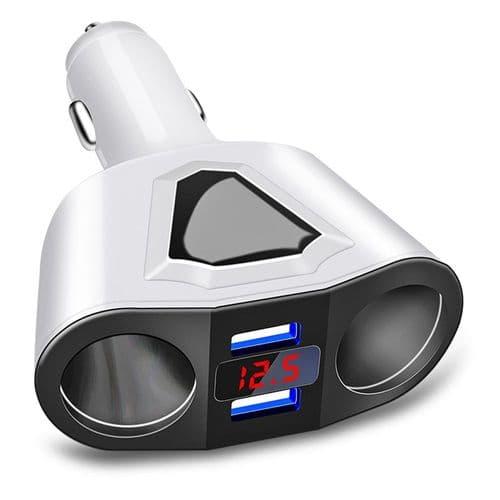 Répartiteur Adaptateur Prise Allume-Cigare 12V-24V Double Chargeur Usb + Tension