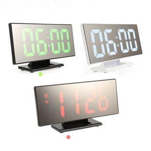 Réveil Alarme Led Multifonction Digital Miroir Nuit Lcd Table Horloge Usb