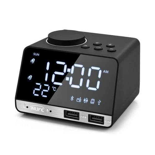 Réveil Haut-Parleur Bluetooth 4.2 Radio Fm 2 Ports Usb Réveil Alarme Digital Led