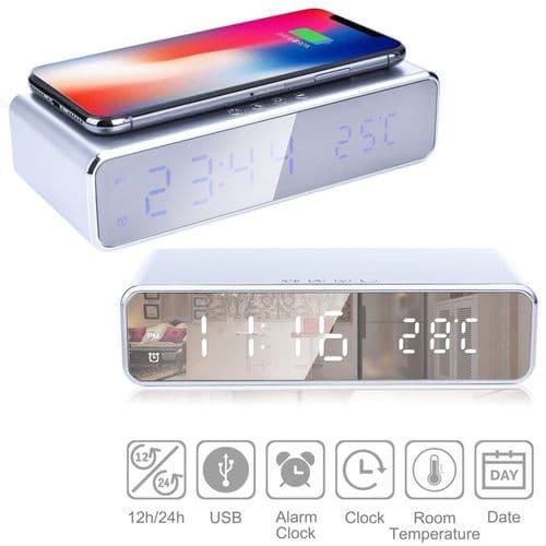 Réveil Horloge Digital Ed Affichage Température Chargeur Qi Sans Fil Pour Mobile