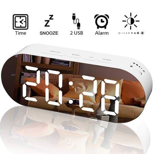 Réveil Horloge Digital À Led Avec Alarme Miroir Et Port Chargeur Double Usb