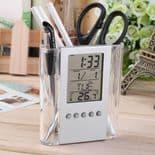 Réveil Horloge Digital  Porte-Crayon Stylo Affichage Calendrier Thermomètre