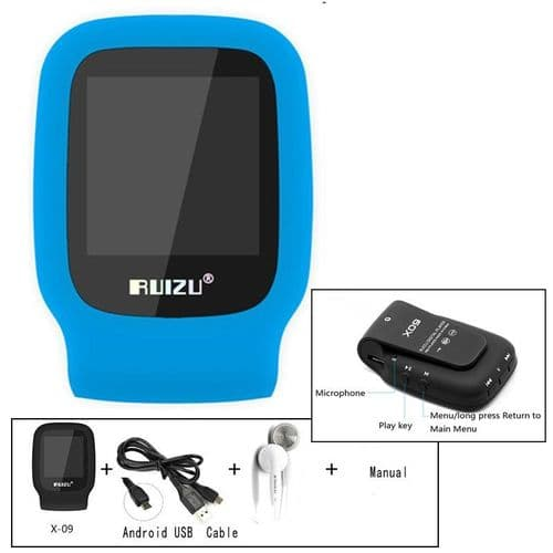 "RUIZU X09 Mini Baladeur Lecteur MP3 Sport Clip 4GB 1.5"" Ecran FM Horloge BU"
