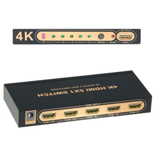 Sélecteur Hdmi 5X1 Télécommande Ir 1080P 4K 2K Commutateur À 5 Entrées 1 Sortie