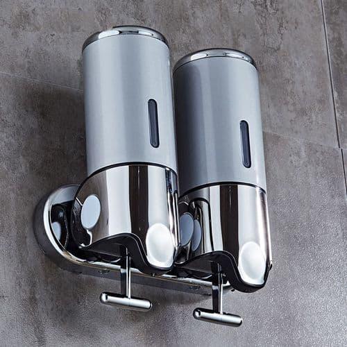 Salle de bains distributeur liquide savon shampooing 500ml support mural