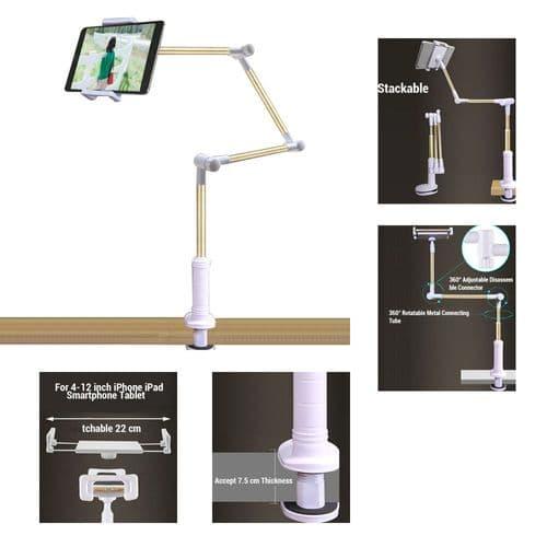 Support Montage Table Bureau Bras Long Pour Tablette Smartphone 4 À 12 Pouces