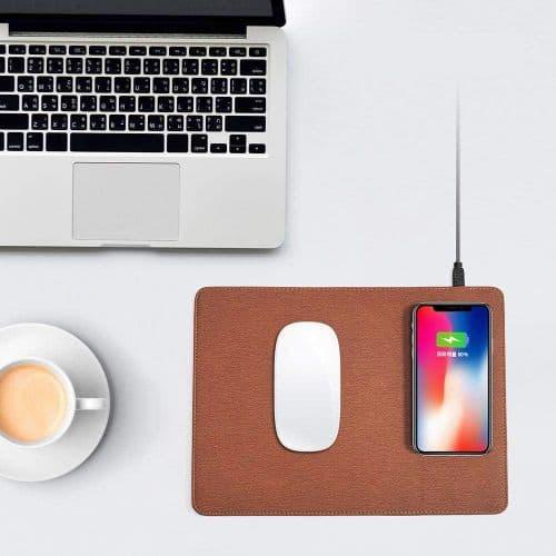Tapis De Souris Ordinateur + Chargeur Sans Fil Qi Batterie Pour Mobile Cuir Pu