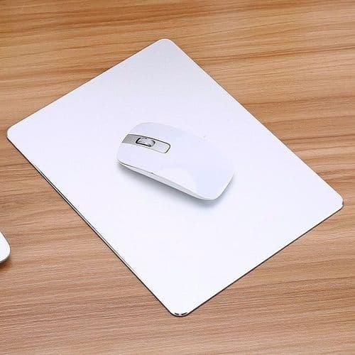 Tapis de Souris PC en Alliage Aluminium Moderne avec Base Antidérapante Blanc