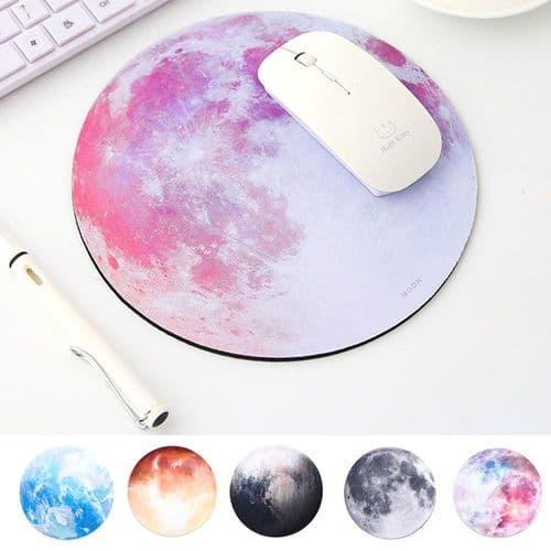 Tapis De Souris Rond Pour Ordinateur Caoutchouc Naturel Series Earth Moon Planet