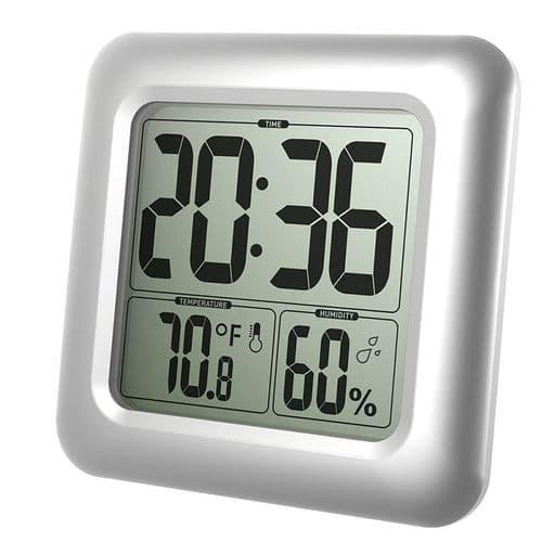 Thermomètre Hygromètre Horloge Digitale Résistant À L'Eau Salle De Bains Cuisine