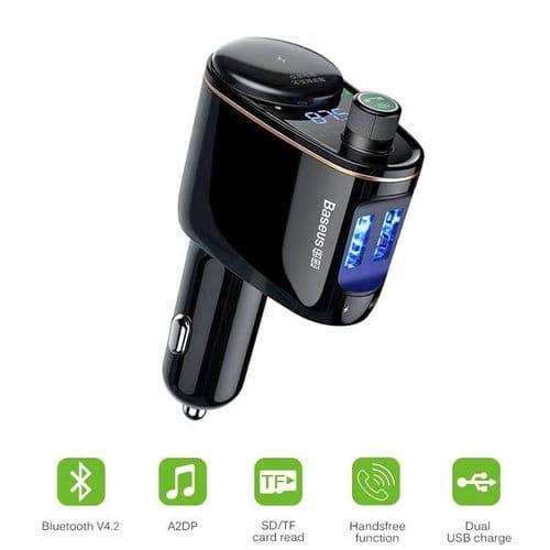 Transmetteur Fm Bluetooth Prise Allume-Cigare De Voiture Affichage De Tension