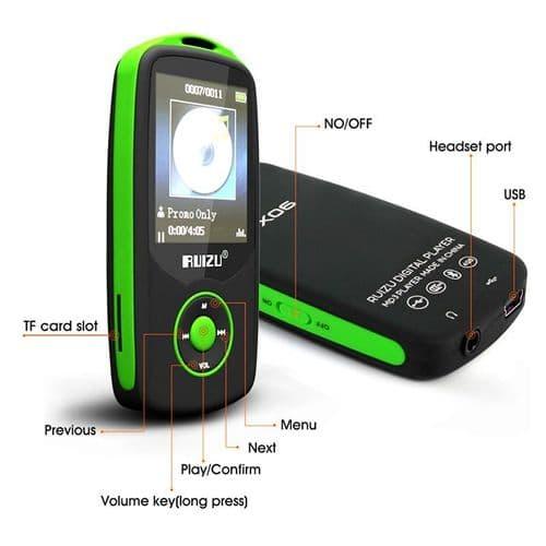 UIZU X06 Bluetooth Baladeur Lecteur Audio MP3 4Go Enregistreur Vocal Radio GR