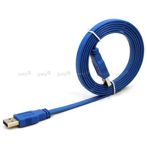 USB 3.0 High Speed A Mâle AM vers A Mâle AM Câble Plat 1.5 Mètres