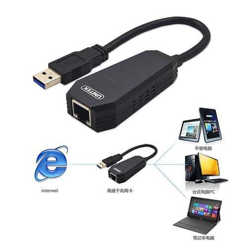 USB 3.0 vers Ethernet RJ45 Adaptateur Carte Réseau LAN pour Mac Windows 10/1000Mbps