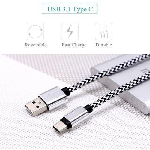 USB-C Câble Mâle de Type C A USB A Mâle USB de Données USB Nylon 25cm WH