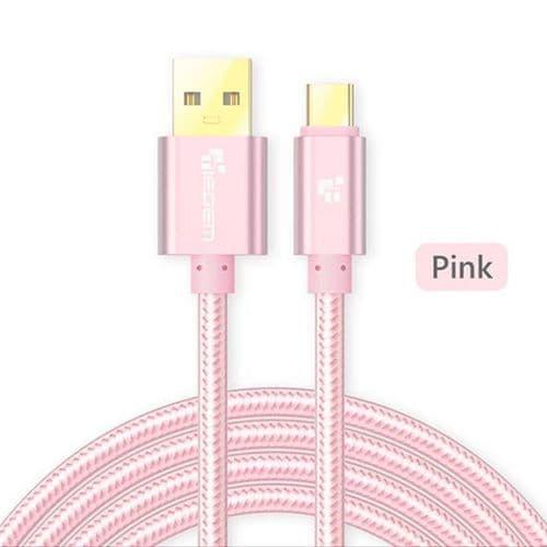 USB Mâle vers USB Type C Nylon USB-C Data Sync Câble de Charge Rapide 2M PK